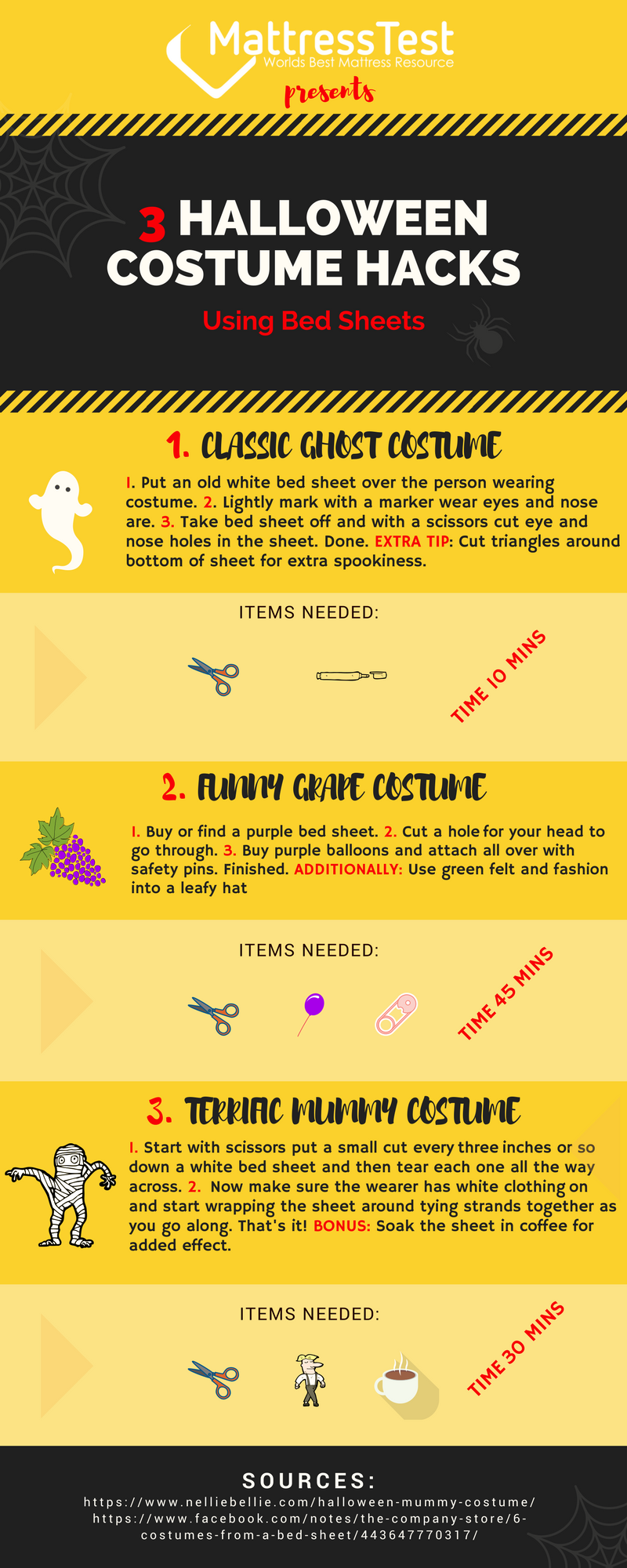 Infographic 3 Halloween Costume Hacks Using Bed Sheets